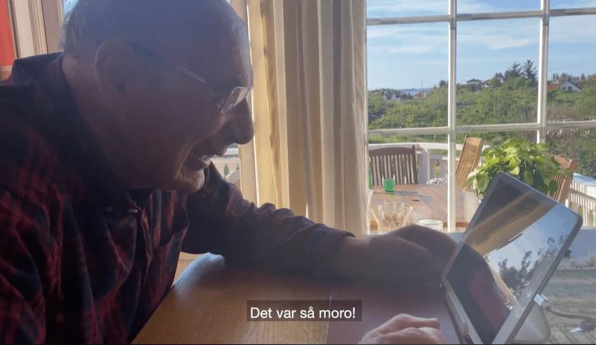 Bestefar snakker på Amigo